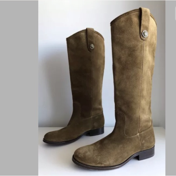 1f34d67a406 FRYE MELISSA BUTTON CASHEW SUEDE LEATHER BOOTS
